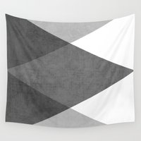 triangles Wall Tapestries featuring black and white triangles by her art