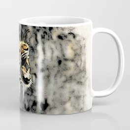 Tiger roar Woodblock Style Coffee Mug