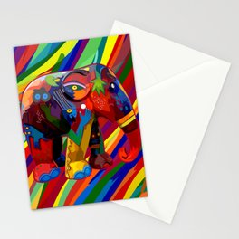 Full Color Abstract Elephant Stationery Cards