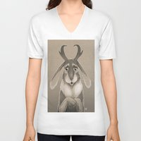 jackalope V-neck T-shirts featuring Jackalope by Art of Jeff Hebert