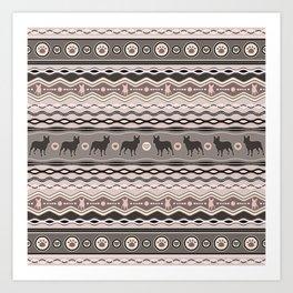 French Bulldog - Decorative Pattern in pastels Art Print