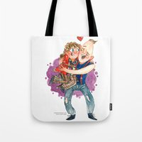 goonies Tote Bags featuring Goonies Hug by Super Group Hugs