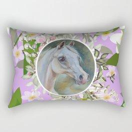 Spring Floral Horse Rectangular Pillow