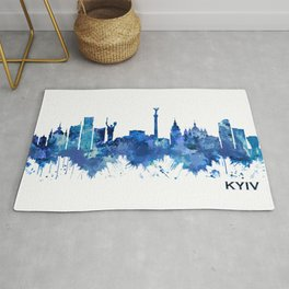 Kyiv Ukraine Skyline Blue Rug
