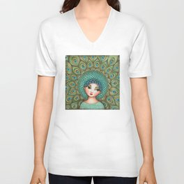 Peacock girl Unisex V-Neck
