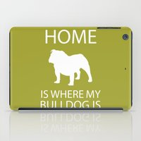 english bulldog iPad Cases featuring English Bulldog Silhouette Art  by pigknit