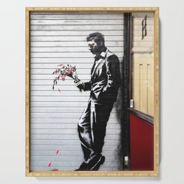 Banksy, Man with flowers Serving Tray
