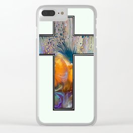 Fluid Art Cross Clear iPhone Case