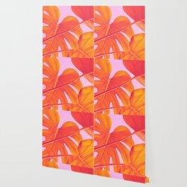 Monstera Quench - Pink & Orange Wallpaper
