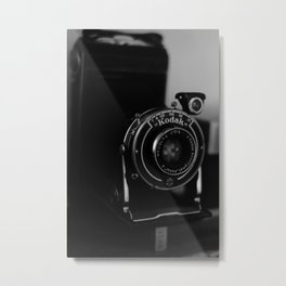 Vintage Analog Kodak Camera Close-up | Black & White | Product Photography | Fine Art Photo Print Metal Print