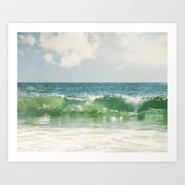 Ocean Sea Landscape Photography, Seascape Waves, Blue Green Wave Photograph Art Print