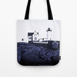 Navy Blue Maine Lighthouse Tote Bag