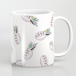 Memphis Tropical Pineapple Fruit Pattern, Seamless Vector Background Illustration Coffee Mug