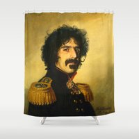 zappa Shower Curtains featuring Frank Zappa - replaceface by replaceface