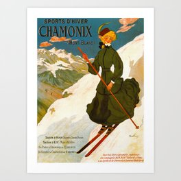 Vintage Chamonix Mont Blanc France Travel Art Print