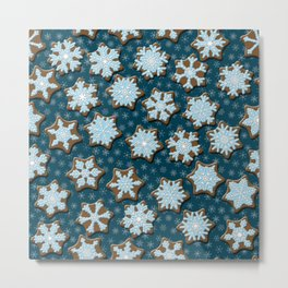 Frosted Gingerbread on Winter Night Sky Metal Print