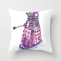 dalek Throw Pillows featuring Dalek by BlueAcorn