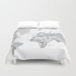 """Gray world map with cities, states and capitals, """"in the city"""" Duvet Cover"""