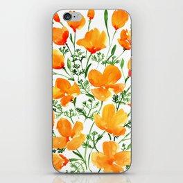 Watercolor California poppies iPhone Skin