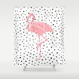 Flamingo Art print, Pink, Glam, Dalmatian, Tropical, Nursery, Living Room Shower Curtain