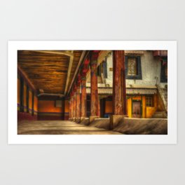 At the monastery, traditional Buddhist residential architecture (Lhasa, Tibet, Himalayas) (2016-6T19) Art Print