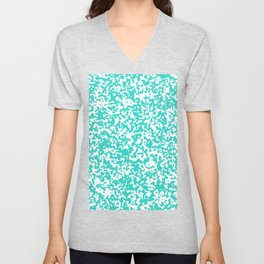 Small Spots - White and Turquoise Unisex V-Neck