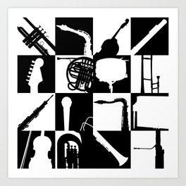 Pop Music Art B&W Art Print