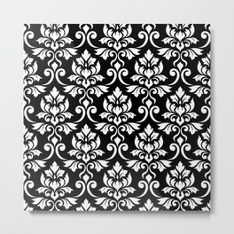 Feuille Damask Pattern White on Black Metal Print