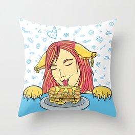 Cat Girl Pancakes Doodle  Throw Pillow