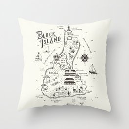 Block Island Map Throw Pillow