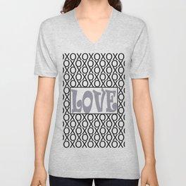 Pantone Lilac Gray LOVE XOs (Hugs and Kisses) Typography Art Unisex V-Neck