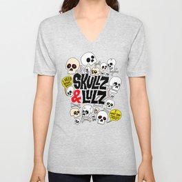 Skullz & Lulz Pattern Unisex V-Neck