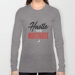 WYD Hustle _ Motivate Tee Grey Black Red NIPSEY HUSSLE VICTORY LAP hustle Long Sleeve T-shirt