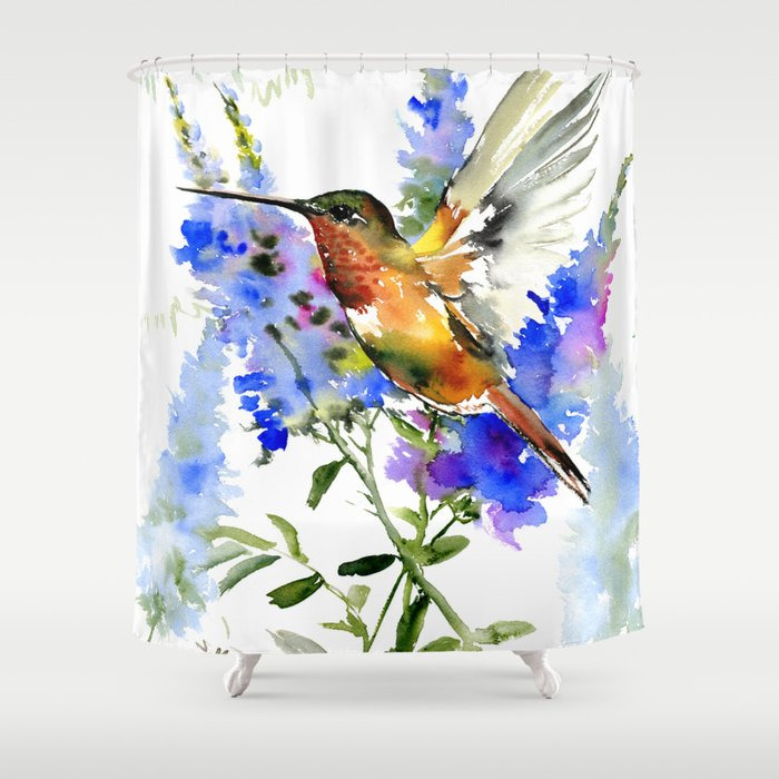 Alen's Hummingbird and Blue Flowers, floral bird design birds, watercolor floral bird art Shower Curtain