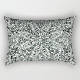 big paisley mandala in black and white Rectangular Pillow