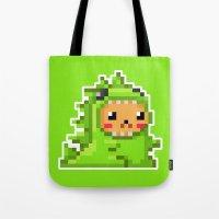 8bit Tote Bags featuring 8bit Dinobear by Bear Picnic