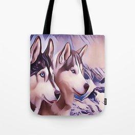 A Pair of Siberian Huskys Tote Bag
