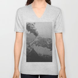 Volcano black and white Unisex V-Neck