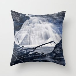 Glowing Midnight Waterfall Throw Pillow
