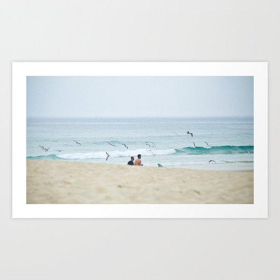 Seagulls & seashore Art Print