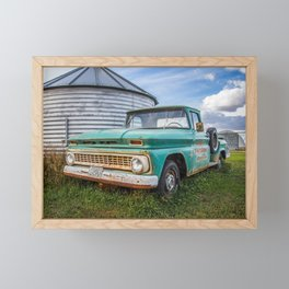 Teal Farm Truck 2 Framed Mini Art Print