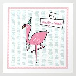 """It's party time"" Flamingo Art Print"