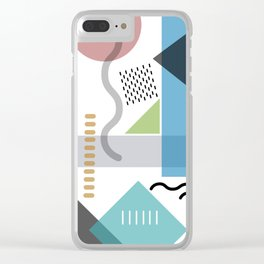 Geometric abstract art, pastel tones shapes and dots print Clear iPhone Case