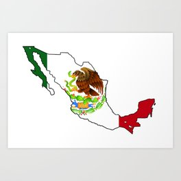 Mexico Map with Mexican Flag Art Print