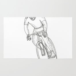 Road Bicycle Racing Doodle Rug