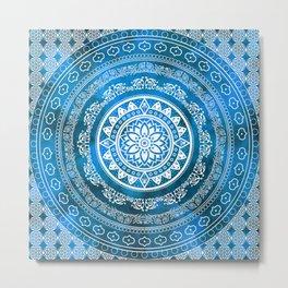 'Sapphire Destiny' Blue & White Flower Of Life Boho Mandala Design Metal Print