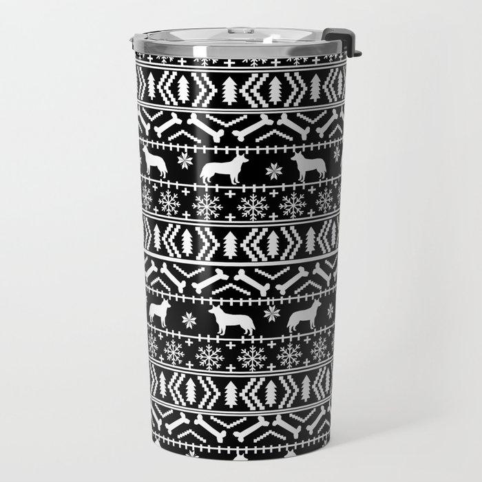 Australian Cattle Dog christmas fair isle pattern pet portrait holiday designs for dog lover Travel Mug