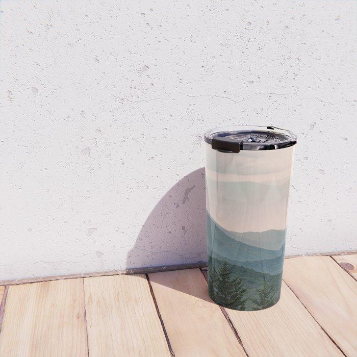 Smoky Mountain Pastel Sunset Travel Mug