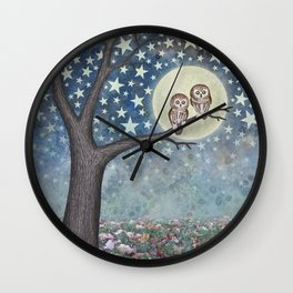 northern saw whet owls under the stars Wall Clock