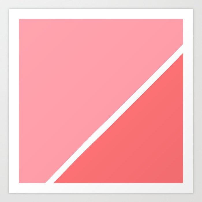 Modern minimalist geometric pink coral color block Kunstdrucke